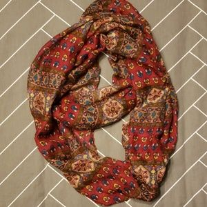 Red Patterned Infinity Scarf